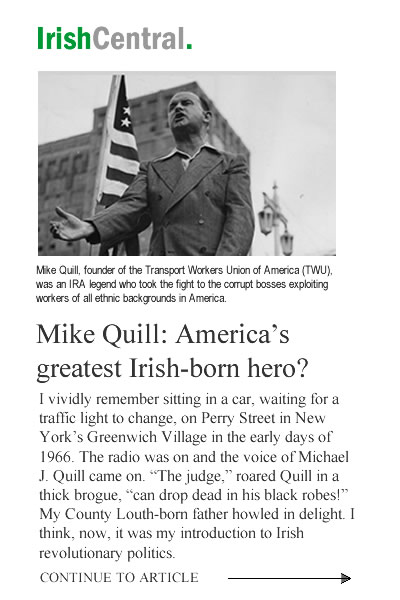 Brian Flynn for Congress | Irish Central Article on Michael J. Quill, TWU Founder