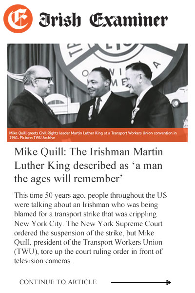 Brian Flynn | Irish Examiner Article on Brian's Great Uncle Michael J. Quill, Founder of TWU